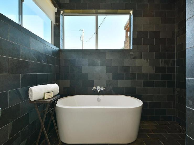 Walk in Shower with Dark Gray Slate Tiles with Freestanding Tub