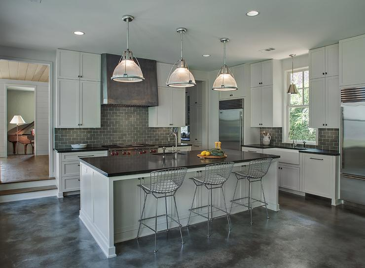 Light Gray Kitchen Cabinets With Dark Subway Tile Backsplash
