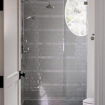 Shower With White And Gray Tiles And Oval Window Photo Gallery