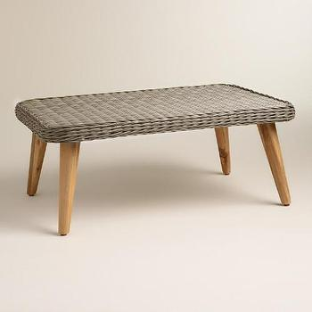 woven wicker gray coffee table - products, bookmarks, design