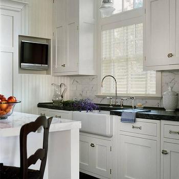 White Flat Panel Kitchen Cabinets Design Ideas
