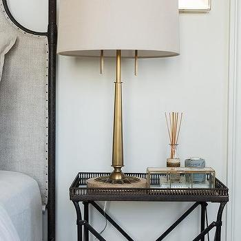 Gray bedside table design ideas mirrored tray top bedside table with antique brass lamp mozeypictures Image collections