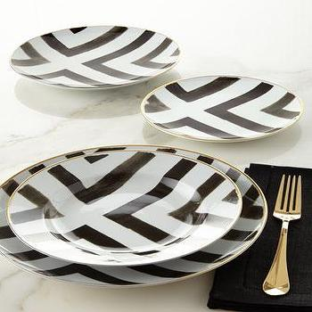 Black and White Vista Alegre by Christian Lacroix Sol Y Sambra Dinnerware & Forbury Turquoise and White Dinnerware