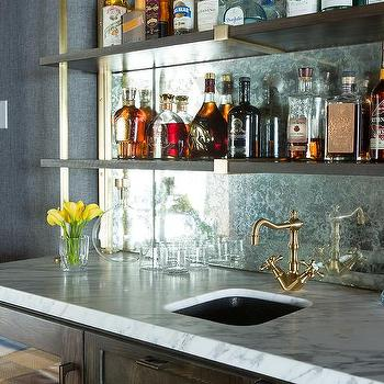 Rustic Wet Bar With Wood And Brass Shelves