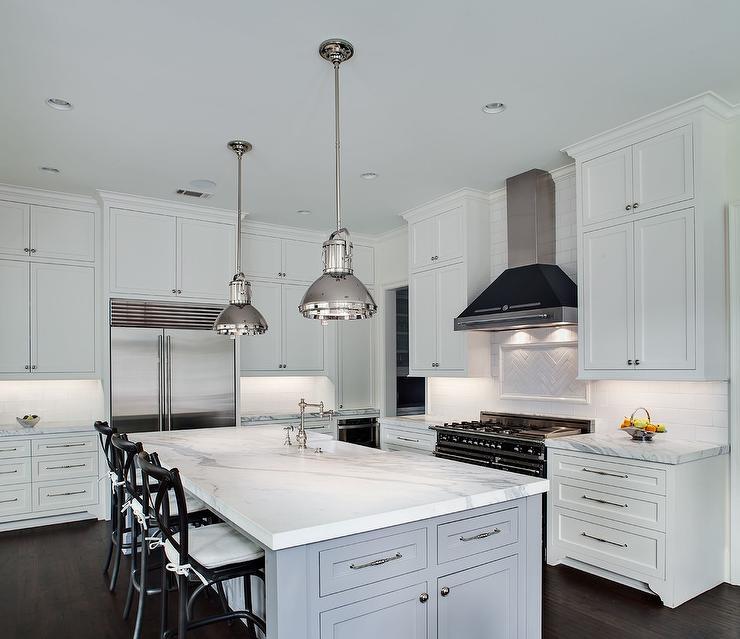Blue Gray Kitchen Island With Ralph Lauren Montauk XI Pendants Transitional