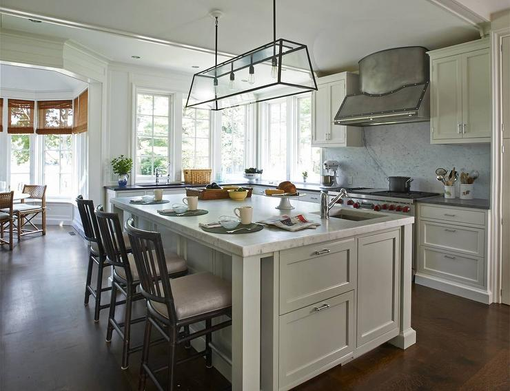 White Kitchen Island With Modern Filament Chandelier