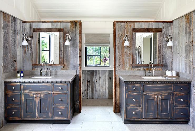 Beau Rustic Country Bathroom With Black Distressed Washstands
