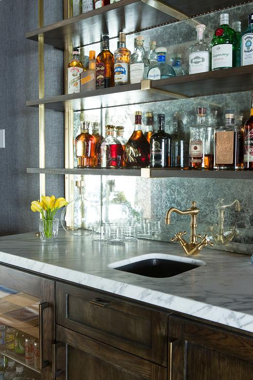 Antiqued Mirror Wet Bar Backsplash Design Ideas