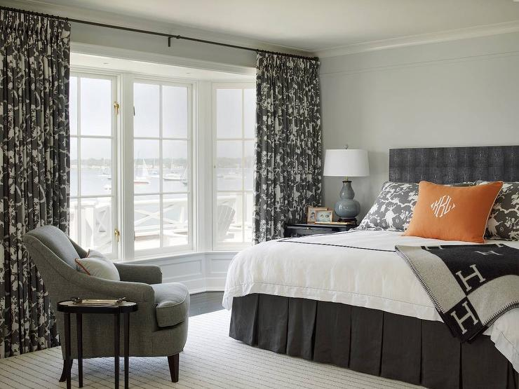 Curtains Ideas chinoiserie curtains : Gray Bedroom with Orange Accents and Hermes Avalon Blanket ...
