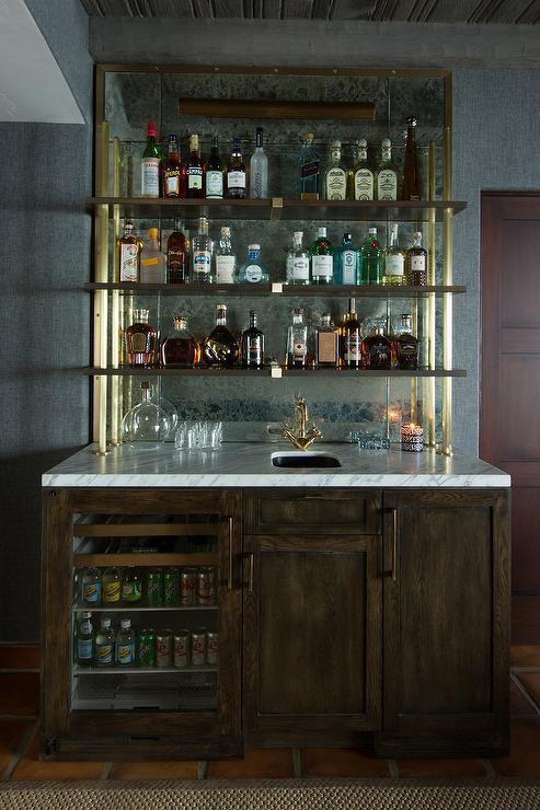Wet Bar With Shelves On Antique Mirror Backsplash Transitional
