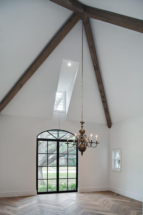 Dark dining room wood beams design ideas for White ceiling with wood beams