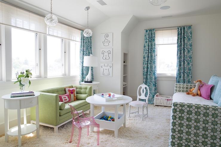 Girls Bedroom Green blue and green girl bedroom with play space - contemporary