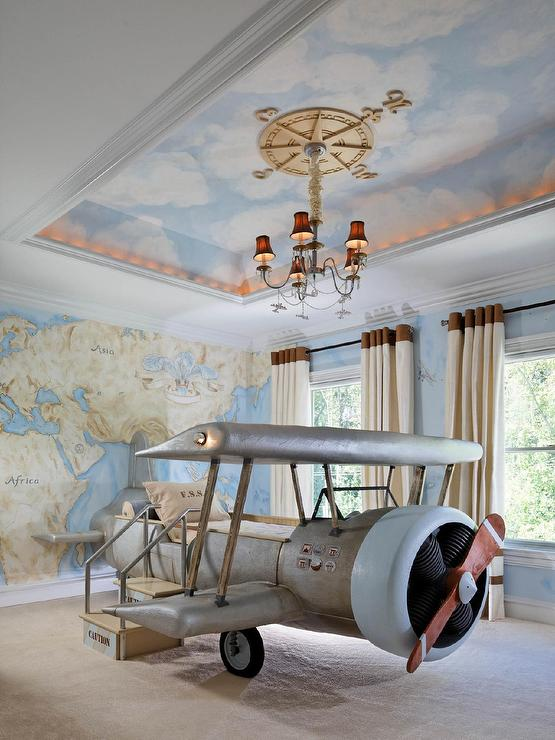 prodigious Vintage Boy Bedroom Part - 17: Boys Room with Vintage Airplane Bed