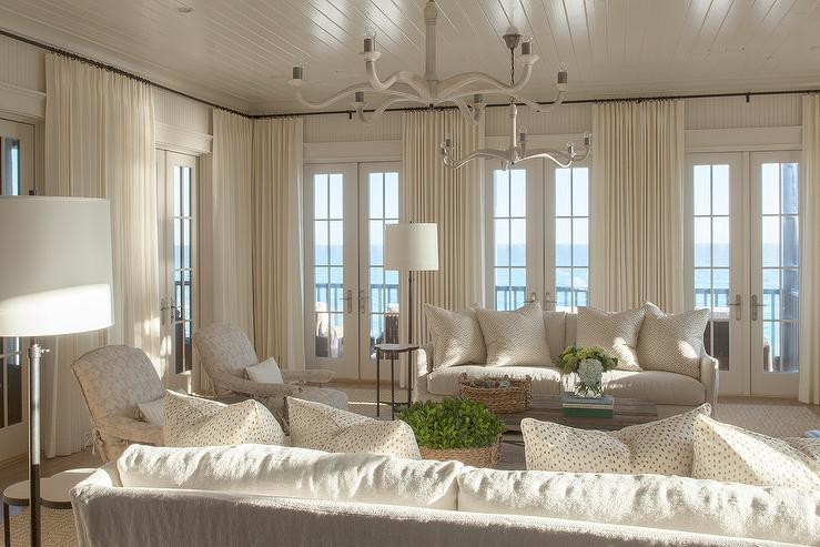 ivory living room furniture. Ivory Coastal Living Room with French Doors  Cottage