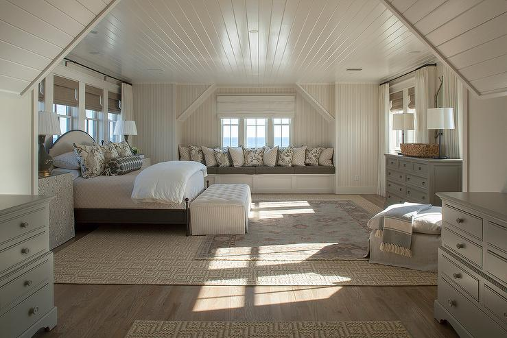 Cream And Gray Bedroom Features A Cream Beadboard Ceiling Over A Gray