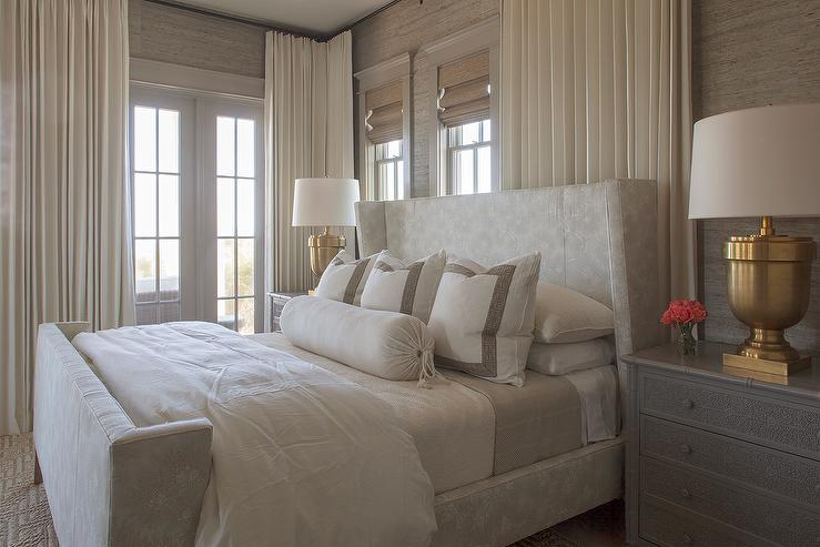 gray bedroom with large chunky urn table lamps antique burnished brass - Large Bedroom Lamps