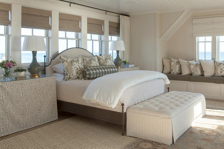 Cream Bedroom Decor: Cream Linen Tufted Headboard Under Window