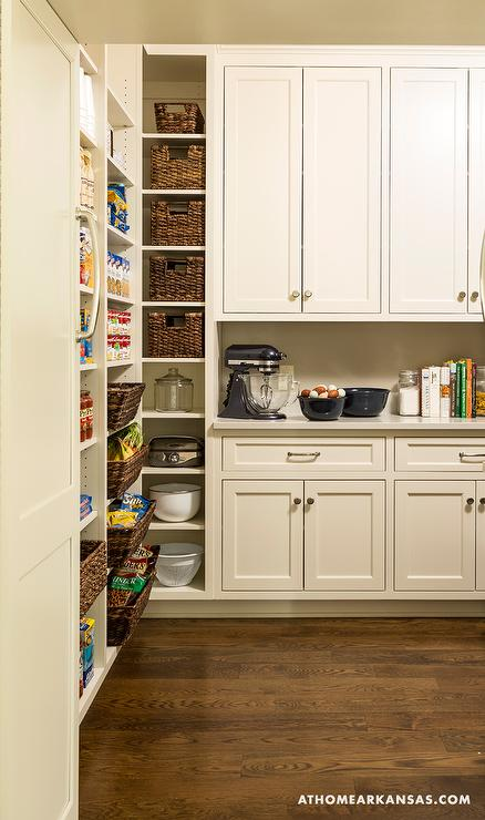 modular pantry shelves with wicker baskets transitional kitchen