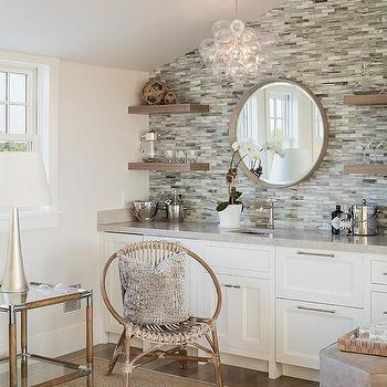 Living Room Bar With Gray Mosaic Tiles