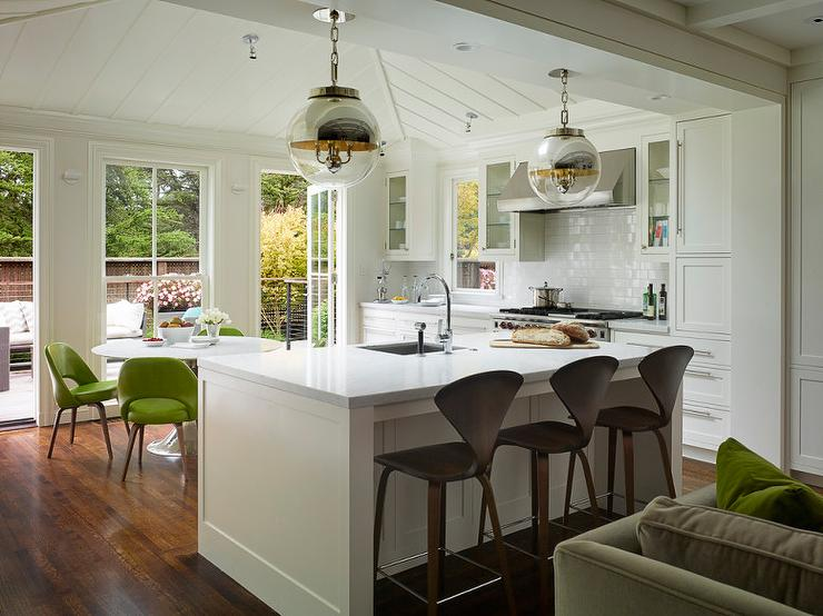 White Kitchen Island With Glass And Mirror Globe Pendants