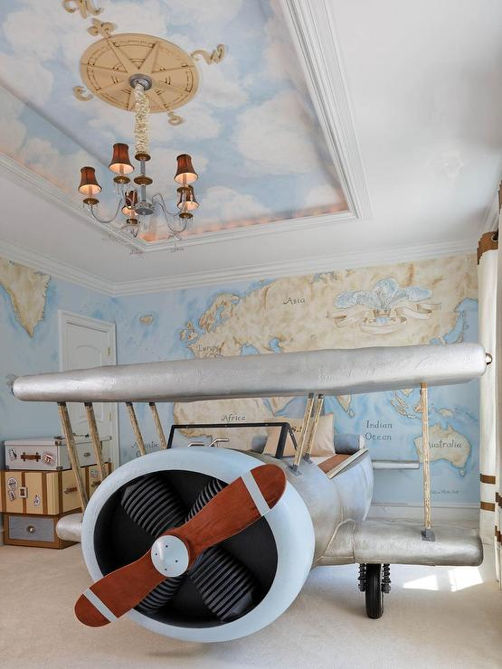 Vintage Kid Bedroom with Tray Ceiling Painted with a Cloud Mural ...