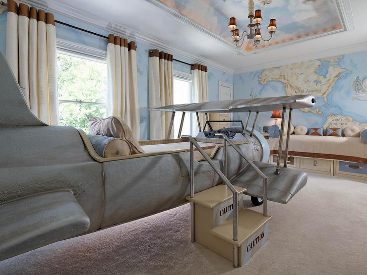 Vintage Kid Bedroom With Tray Ceiling Painted With A Cloud Mural Vintage Boy S Room