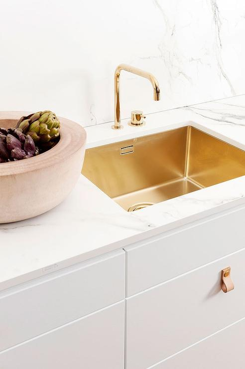 White Kitchen with Brass Sink and Faucet - Modern - Kitchen