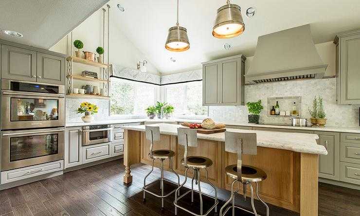 Corner Farmhouse Sink Kitchen : Gray French KItchen with Steel Barrel Hood - Transitional - Kitchen