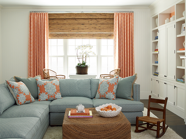 Blue High back Nailhead Sectional with Orange and Blue Medallion