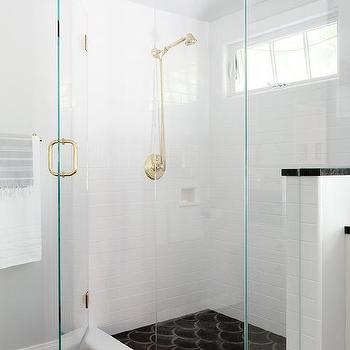 White Shower Surround with Black Cement Fan Shower Floor Tiles