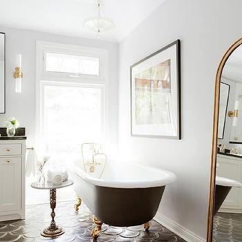 Black Cement Fan Shaped Tiles. White Shower Surround with Black Cement Fan Shower Floor Tiles