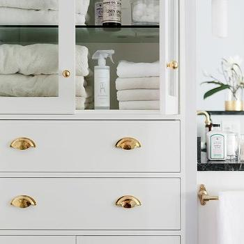 Merveilleux Glass Front Bathroom Linen Cabinet With Polished Brass Hardware