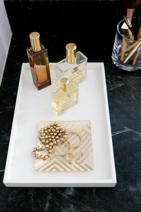 White Lacquer Perfume Tray With Gold Accents View Full Size