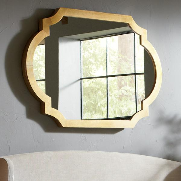 Gold rectangle rounded edges mirror for Gold window mirror