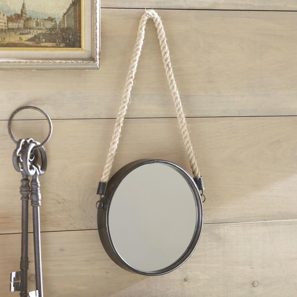 Round Metal Mirror With Rope Part - 24: View Full Size