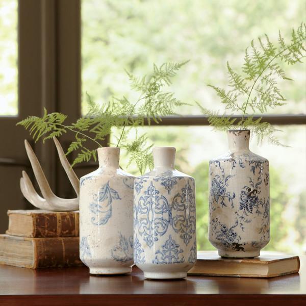 Blue And White Bluestone Terracotta Vases