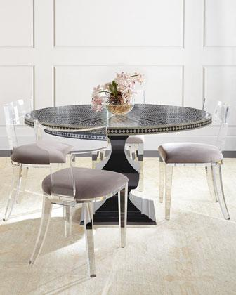 Bernhardt Vivian Black Inlay Dining Table And Nessy Clear Acrylic Dining  Chair
