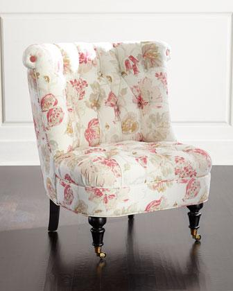 Blush Dusty Rose Tufted Chair
