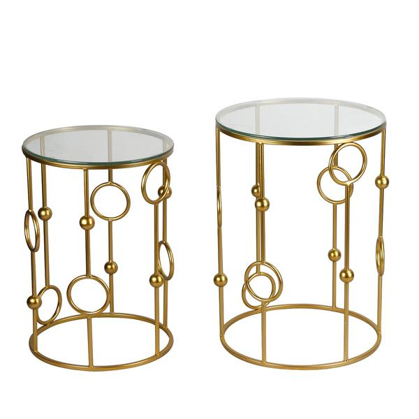 Superb Adeco Accent Golden Cylindrical Metal Coffee Table