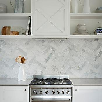 Gray Herringbone Tile Kitchen Floor