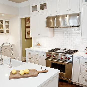 white and gray kitchen with red accents transitional