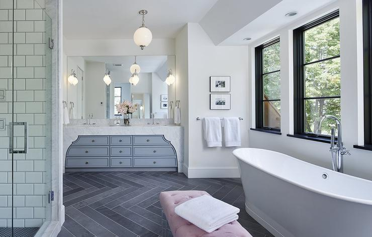 Gray Bathroom With Pink Lucite Bench Contemporary Bathroom