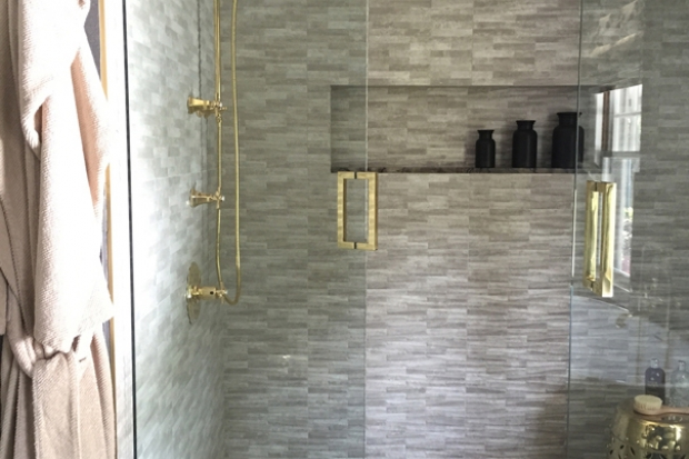 3 knob shower faucettile designs for walk in showers. White Glass Shower Door With Brass Handle Filled Gray Tiles