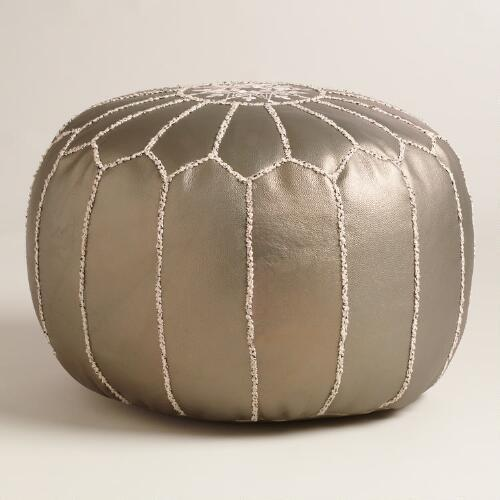 Silver Metallic Embroidered Leather Pouf Best Embroidered Leather Pouf