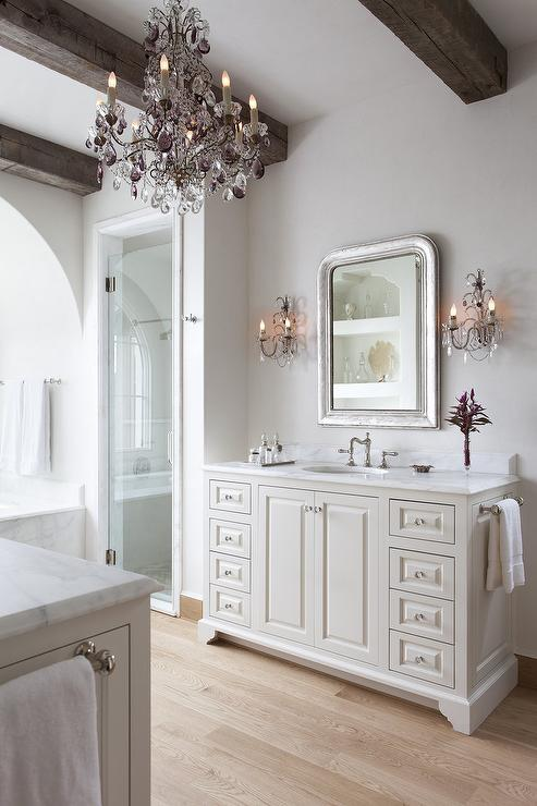 Bathroom Chandelier Sconces rustic french bathroom with wood ceiling beams - french - bathroom