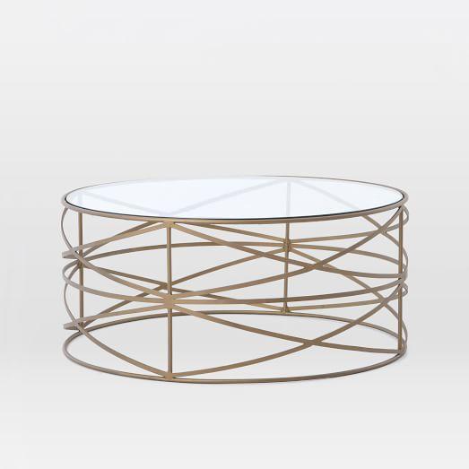 Antique Brass Sculptural Brass Coffee Table