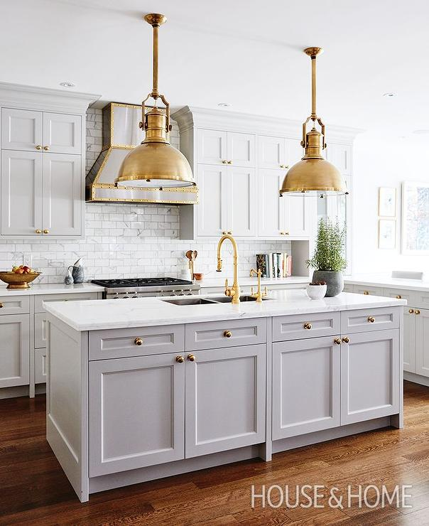 Gray Kitchen Island with Brass Large Country Industrial Pendants