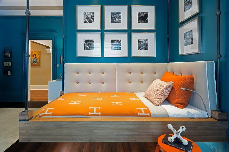 Blue and orange kids bedroom with hermes avalon blanket for Blue and orange room