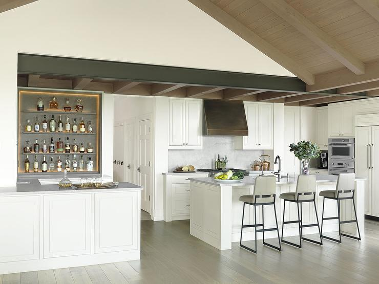 Kitchen Bar With Gray Bar Shelves