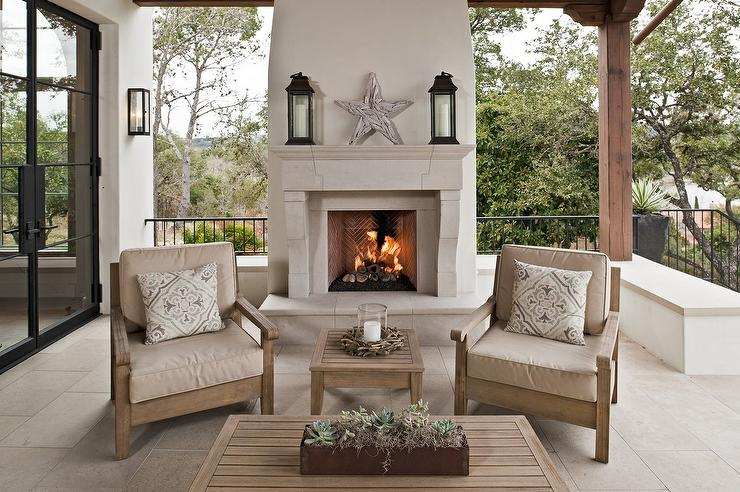 Lakeside Patio With Limestone Fireplace Cottage Deck Patio